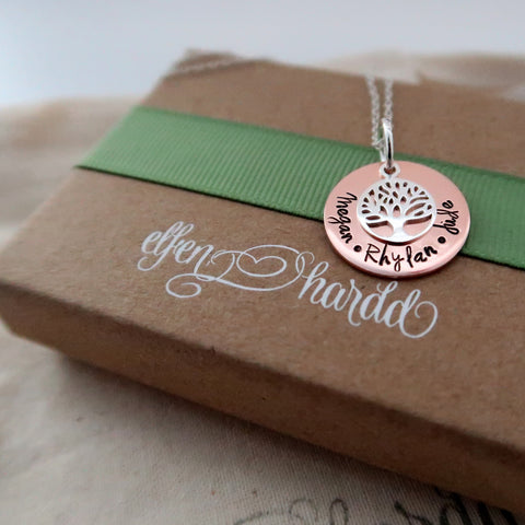 personalised mixed metal family tree necklace made in wales uk by elfen hardd with gift packaging