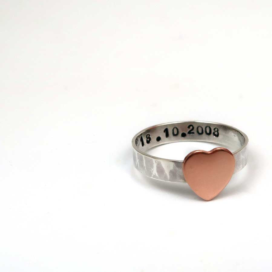 Personalised Mixed Metal Heart Ring