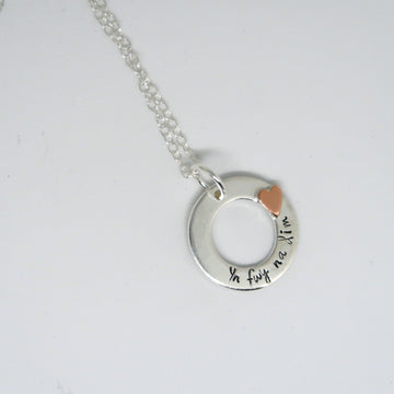 Personalised silver and copper hoop necklace uk wales