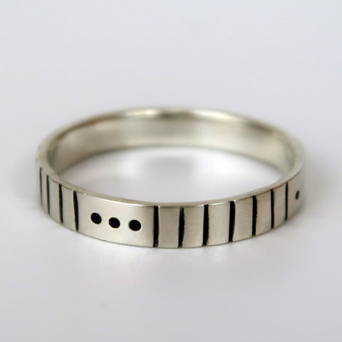 morse code ring sterling silver