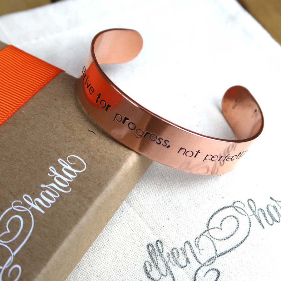 Personalised copper cuff bracelet with gift box
