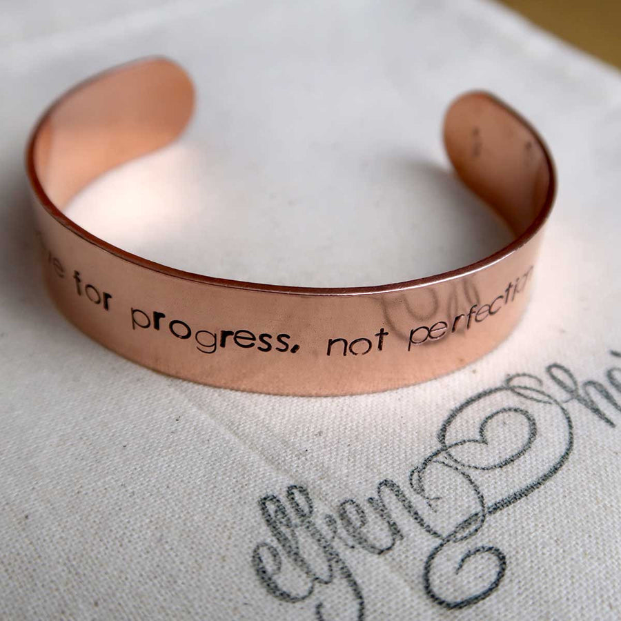 Personalised copper cuff bracelet