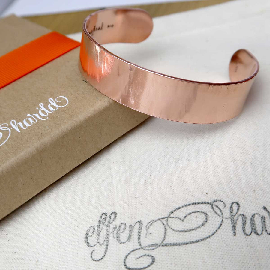 Personalised Textured Copper Cuff Bracelet