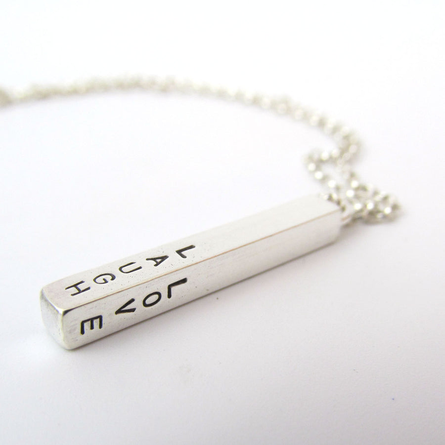 Personalised Four Sided Silver Bar Necklace