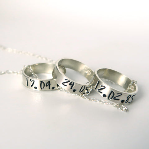 personalised ring charm necklace in silver