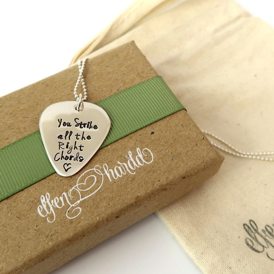 Personalised Sterling Silver Guitar Pick Necklace