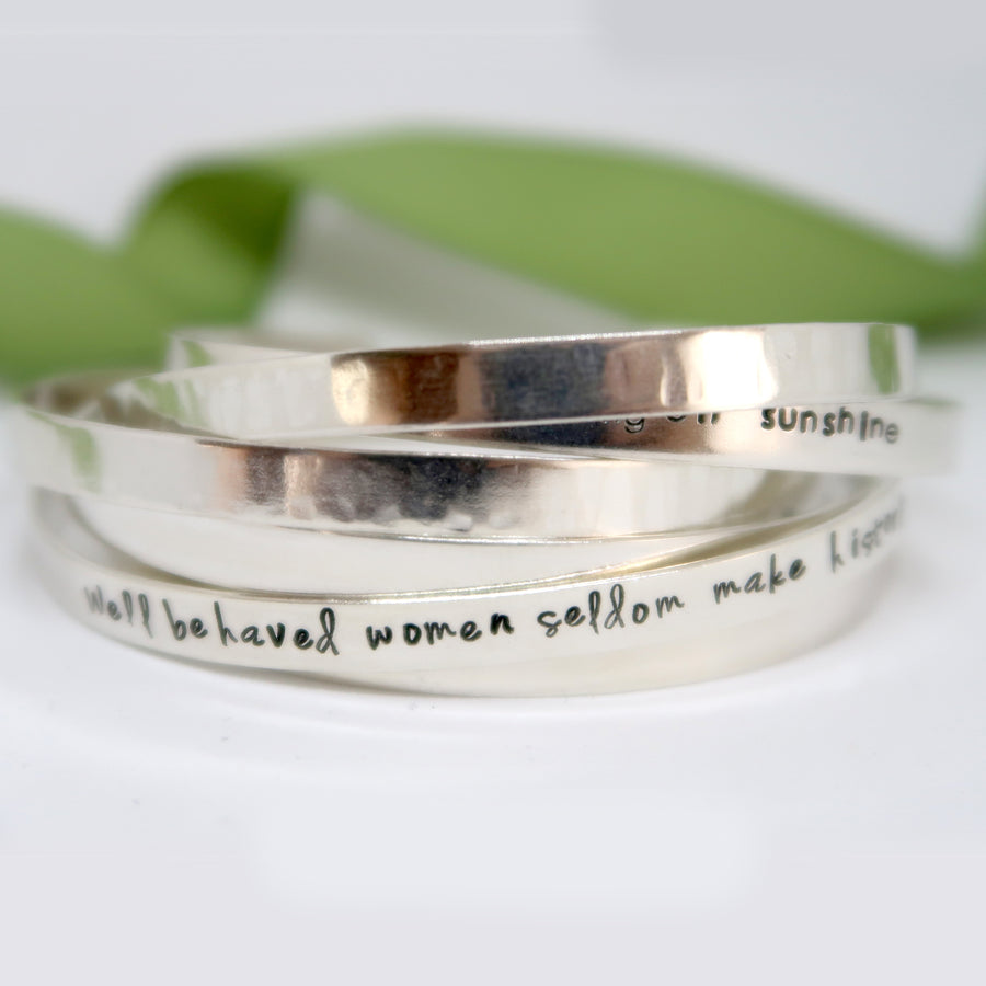 sterling silver cuff bracelet personalised uk handmade