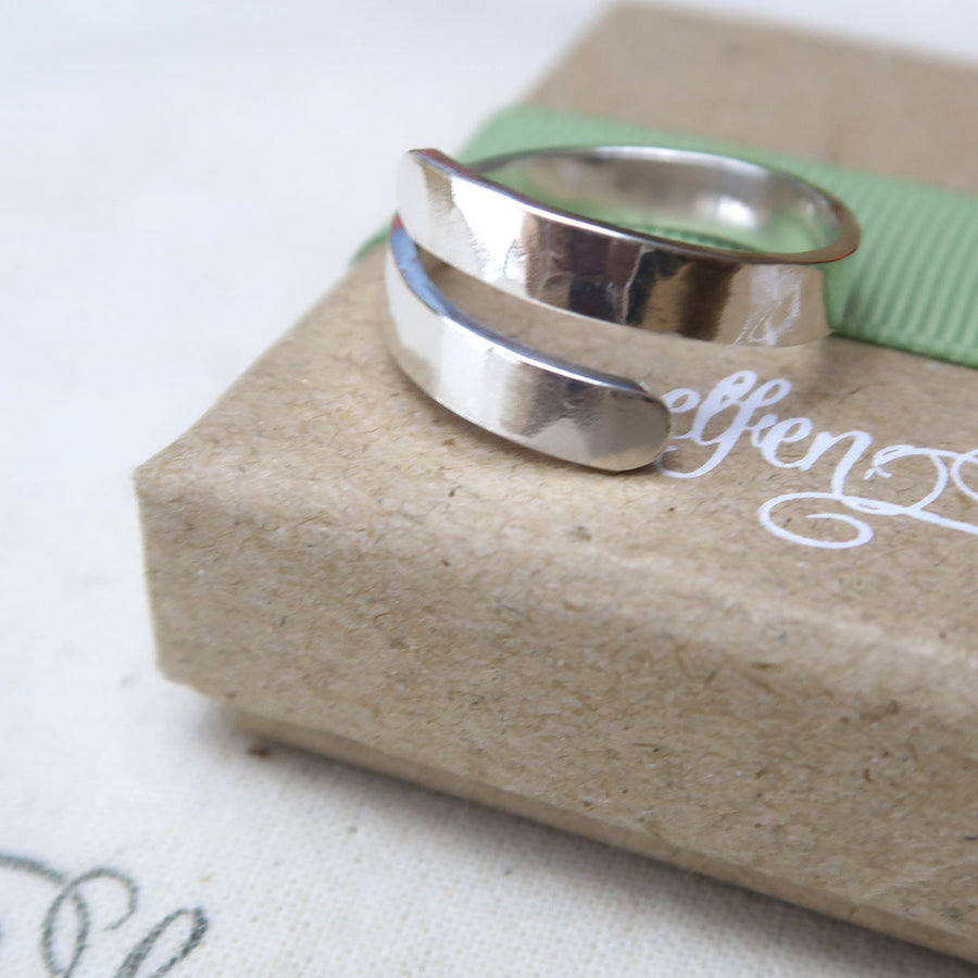 Textured Secret Message Sterling Silver Wrap Ring