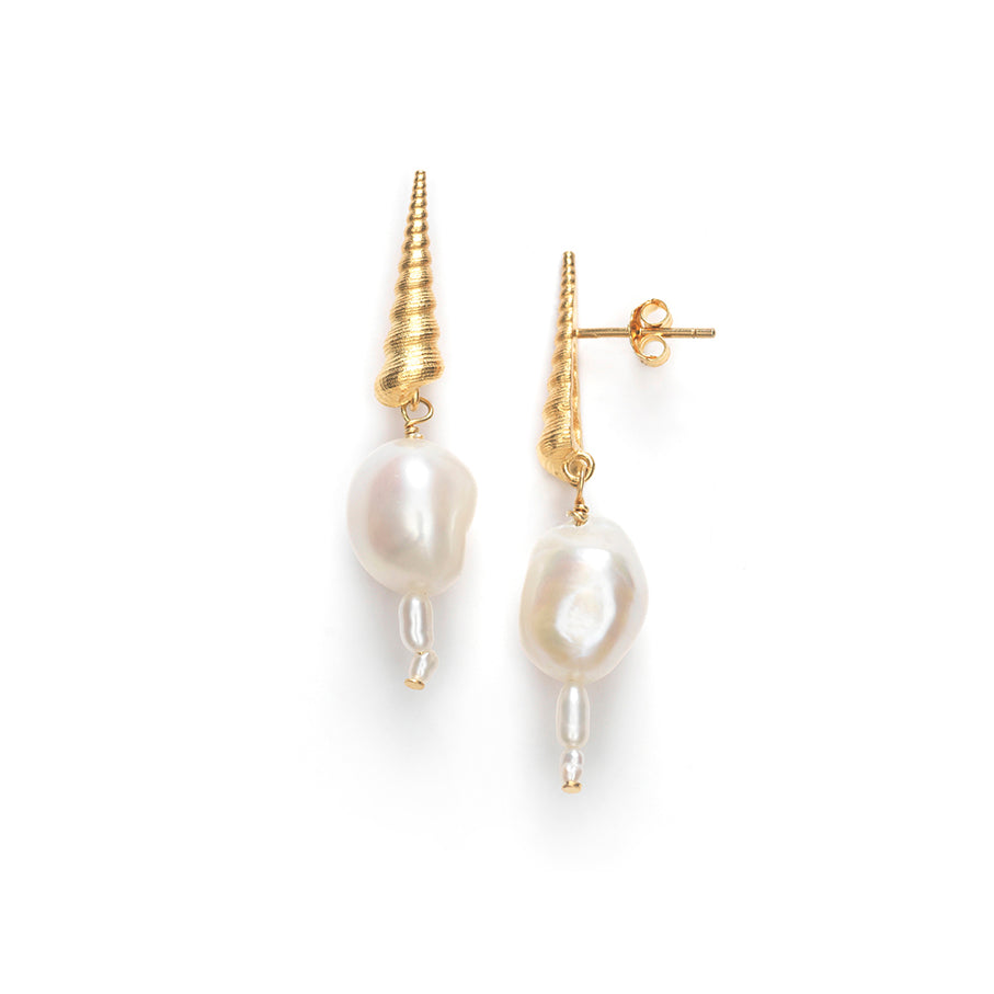 Turret Shell Baroque Pearl Earrings