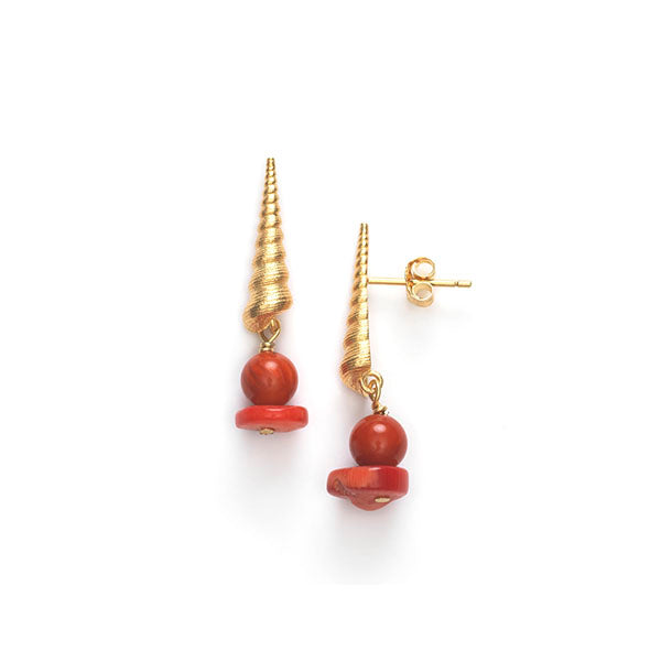 Turret Shell Earrings - Burnt Coral