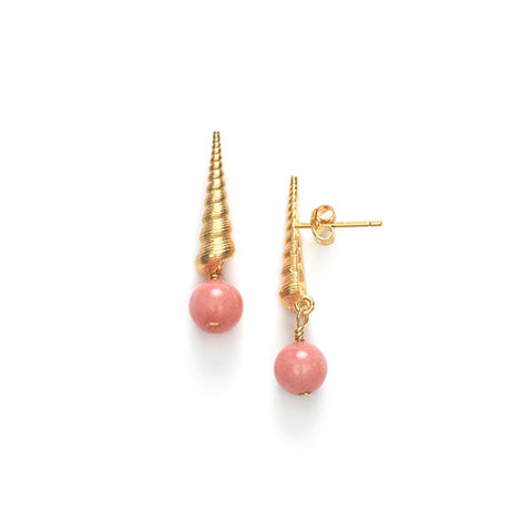 Turret Shell Earrings - Seashell Pink
