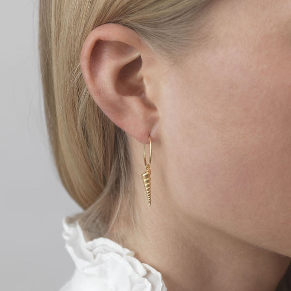 Turret Shell Hoop Earrings