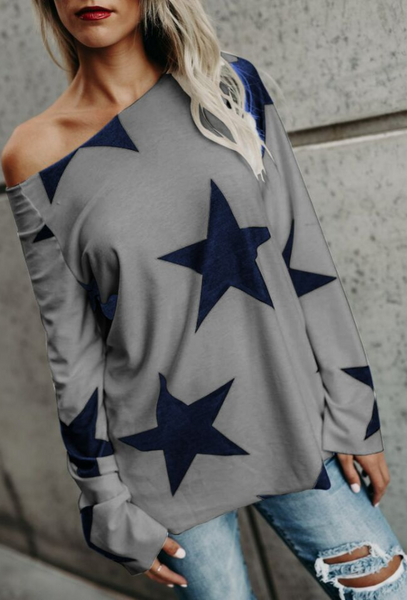 Street Chic Star Print Cold Shouler Tee