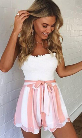 Pastel Pink Stripe Layered Bowtie Shorts