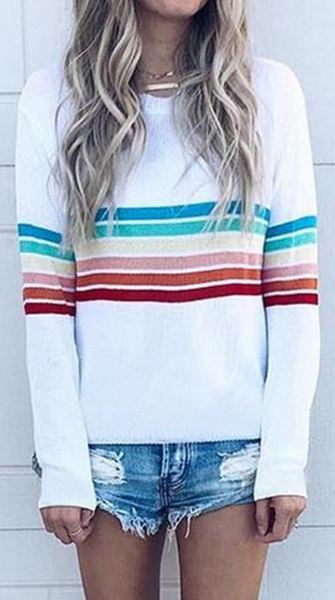 White Rainbow Stripe Print Sweatshirt