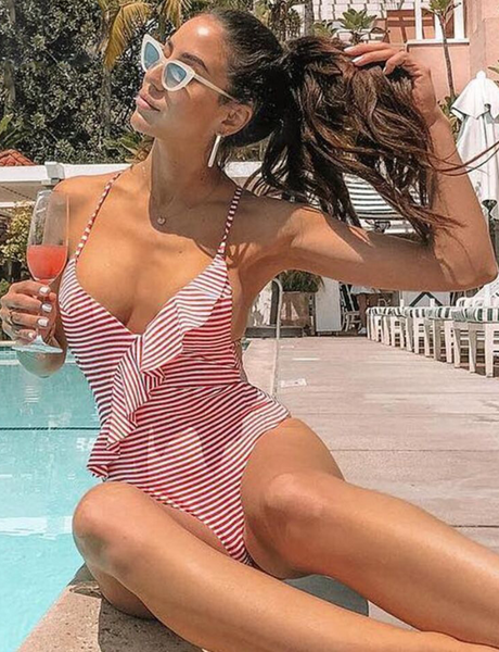 Frill Stripe One Piece Swimwear