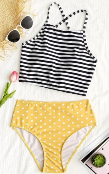 Striped Printed Top Yellow Bikini Bottom