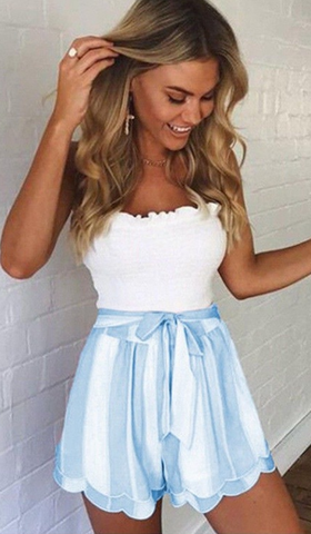 Pastel Blue Stripe Layered Bowtie Shorts