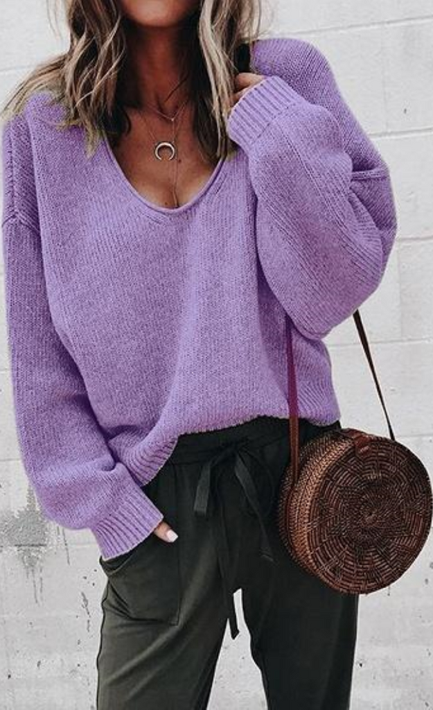 Purple V-neck Long Sleeve Women Knit Sweater