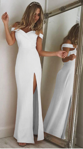 White Off Shoulder Folded Sweetheart Split Maxi Dress