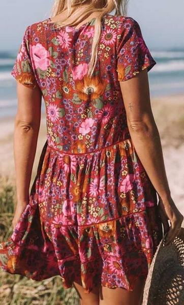 Retro Red Floral Buttoned Rayon Dress
