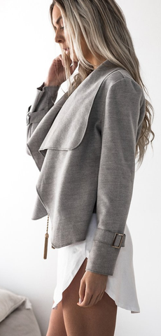 Gray Waterfall Woolen Jacket