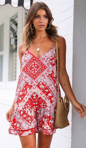 Red Floral Slip-On Dress
