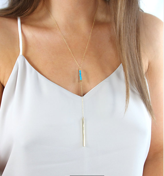 Beaded Turquoise Plated Golden Pendent Necklace