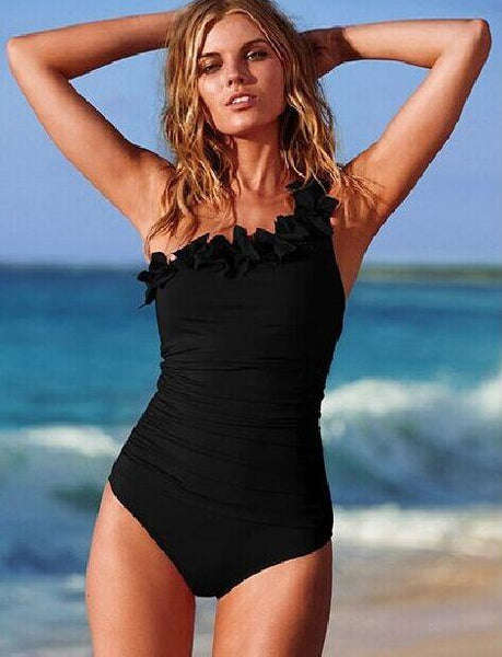 Black Bombshell Ruffled One Piece Swimsuit