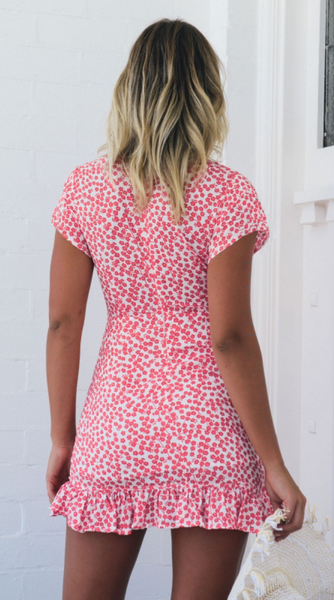 Dainty Floral Surplice Dress