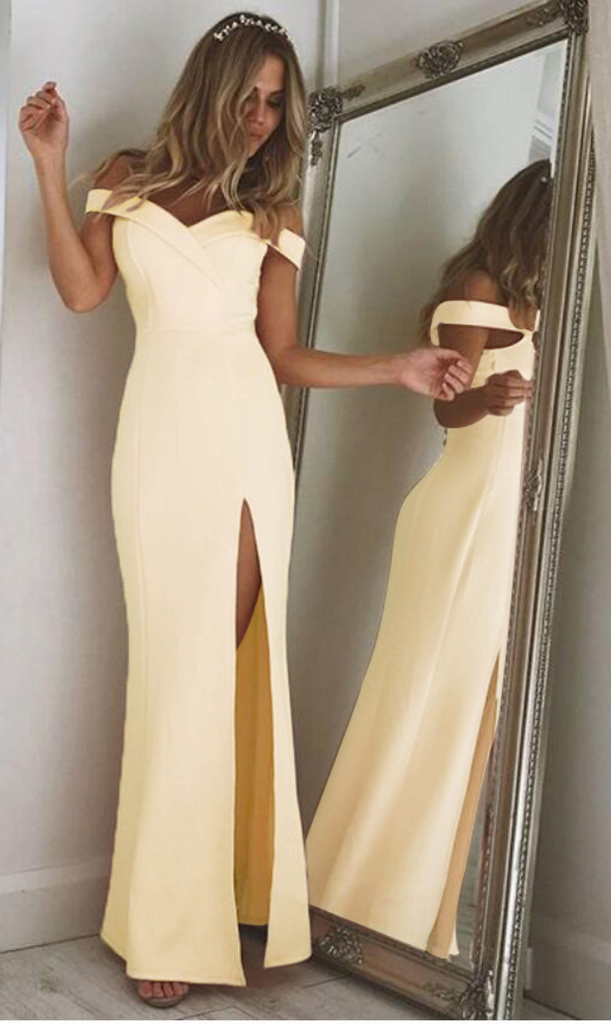 Yellow Off Shoulder Folded Sweetheart Split Maxi Dress