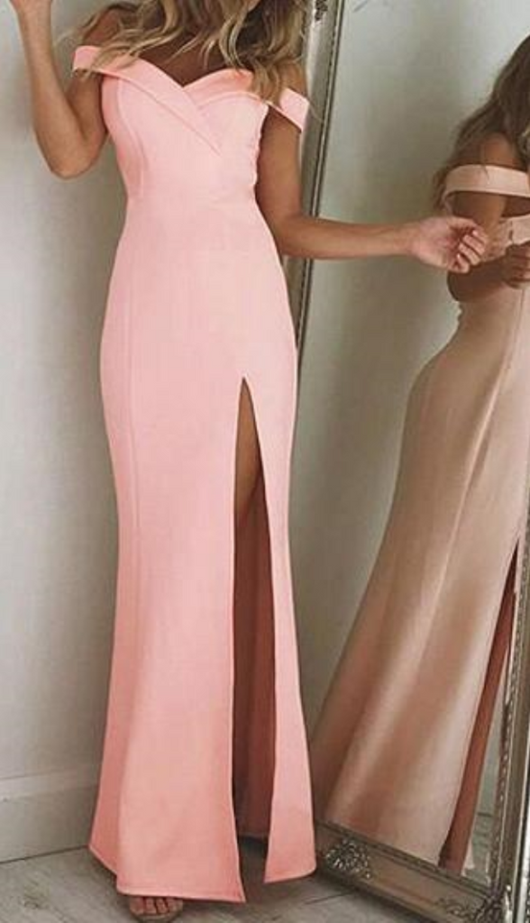 Pink Off Shoulder Folded Sweetheart Split Maxi Dress