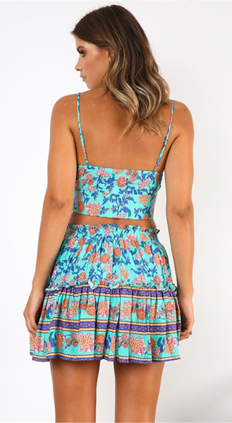 Turquoise Floral Crop Top and Skirt Matching Sets