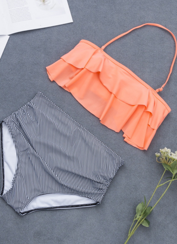 Orange Flounce Stripe High Waisted Bikini