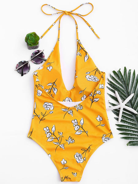 Plant Beat Halter Swimsuit