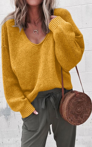 Yellow V-neck Drop Shoulder Pullover Sweater