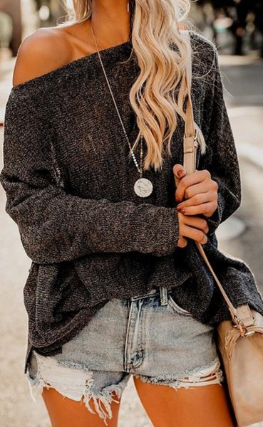 Black Off the Shoulder Long Sleeve Knit Sweater