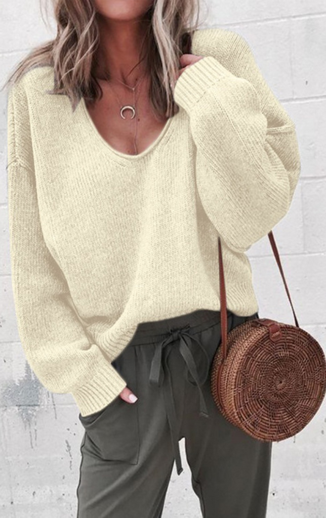 Beige V-neck Drop Shoulder Pullover Sweater