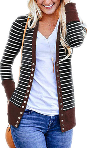 Coffee Basic Striped Button Down Cardigan