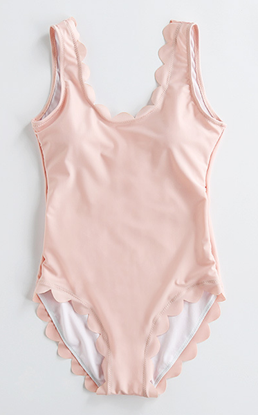 Pink Scalloped Open Back One-Piece Swimsuits