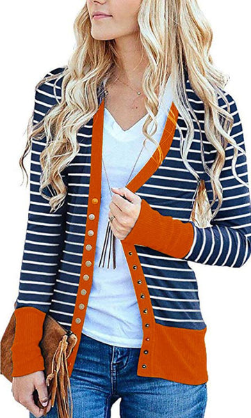 Orange Basic Striped Button Down Cardigan