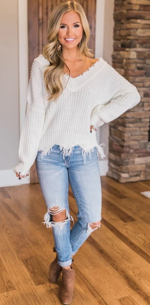 White Raw Edge Knit Sweater