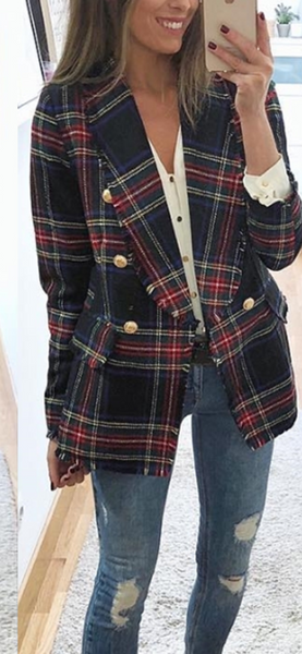Tartan Plaid Wool Coat