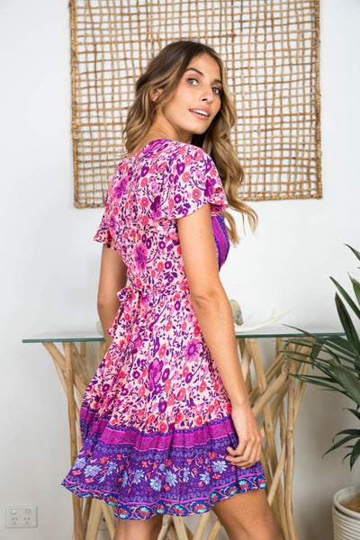 Vintage Geo Pattern Surplice Dress-Purple