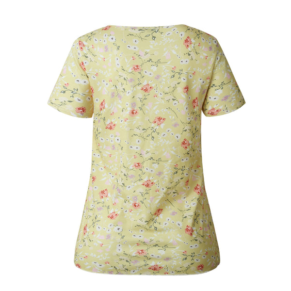 Yellow Floral Short Sleeve Tee