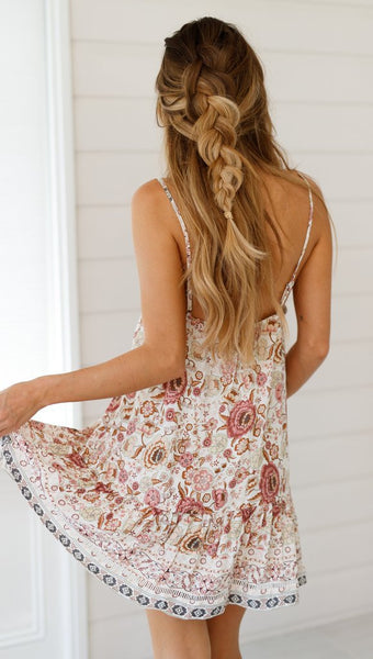 Pink Floral Slip-On Dress