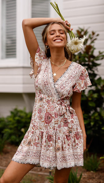 Pink Boho Waist-Tie Surplice Dress