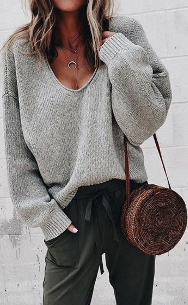 Light Gray V-neck Long Sleeve Women Knit Sweater