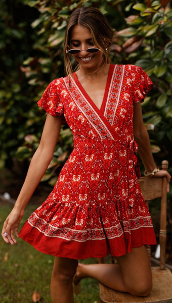 Red Boho Waist-Tie Surplice Dress