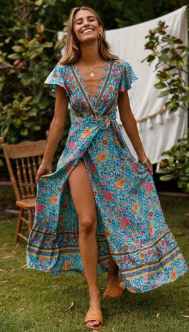 Graceful Teal Floral Sun Dress
